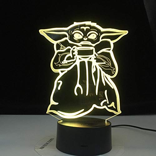 Lámpara de ilusión 3D, luz de noche LED, Mini Yoda Meme, lámpara de regalo para bebé, cuenco de sopa Yoda, figura, decoración de habitación para niños, luz, mesita de noche, escritorio para niños