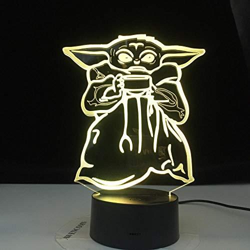 Mini Yoda Meme lámpara 3D regalo Baby Yoda Cuenco sopa figura niños dormitorio decoración luz nocturna escritorio guiado luz nocturna