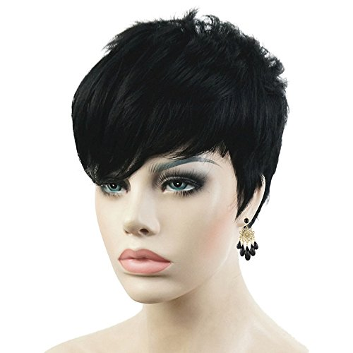 Lydell Short Asymmetry Side Bang Straight Wig Natural Black Full Synthetic Wigs