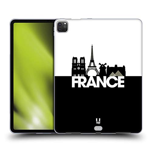 Head Case Designs France Black And White Skyline S3 Soft Gel Case Compatible for Apple iPad Pro 12.9 (2020)