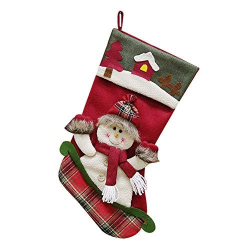 Tnaleve 1 pieza Navidad calcetín caramelo bolsa lindo patrón creativo Navidad calcetín regalo bolsa para la decoración del árbol-B