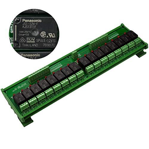 Electronics-Salon DIN Rail Mount 16 SPDT 10Amp Power Relay Interface Module, DC 12V Version.