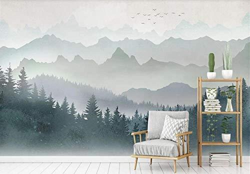 Papel Pintado 3D Pájaro De Bosque De Montaña Geométrico Acuarela Minimalista 3D Dormitorio Decorativos Murales Moderna Diseno 200X140Cm