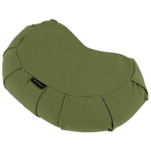 Retrospec Sedona Zafu Meditation Cushion Filled w/Buckwheat Hulls - Yoga Pillow for Meditation Practices - Machine Washable 100% Cotton Cover & Durable Carry Handle; Crescent, Basil