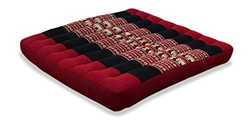 livasia Sitzkissen Stuhlauflage groß I Bodenkissen Indoor / Outdoor I Meditationskissen Yogakissen I Stuhlauflage für Palettenmöbel I Steppkissen für Stuhl und Bank 50 x 50 x 6,5 cm (Rot / Elefanten)