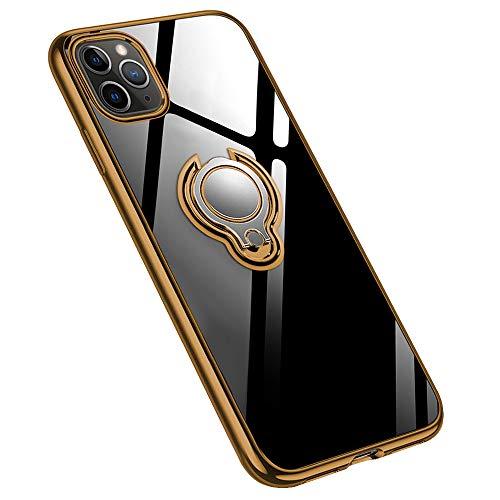 jaligel Funda para iPhone 11 Pro Max 6,5 pulgadas con anillo giratorio de 360 grados (funciona con soporte magnético para coche) fina silicona transparente antigolpes antiarañazos funda – Oro