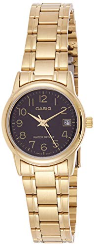 Casio #LTP-V002G-1B Women's Analog Gold Tone Black Easy Reader Dial Date Watch