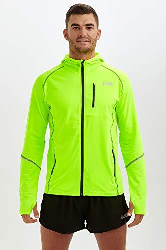 Giacca Termica da Uomo da Corsa con Zip e Cappuccio Thermo Running M Verde Lima