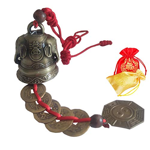 ZeeStar Bless Vintage Feng Shui Bell Elephant Buddha Statue Pisces Peacock with Five Emperor Money Wind Chimes Feng Shui Element for Home Garden Good Luck (Double Elephant)