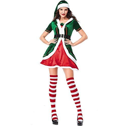 Kerstelfen Fluwelen JurkKostuums Voor Liefhebbers Groene Vrouw en Man Kerstfeest Cosplay Kostuum Volwassen kerstelf, vrouw, XXL