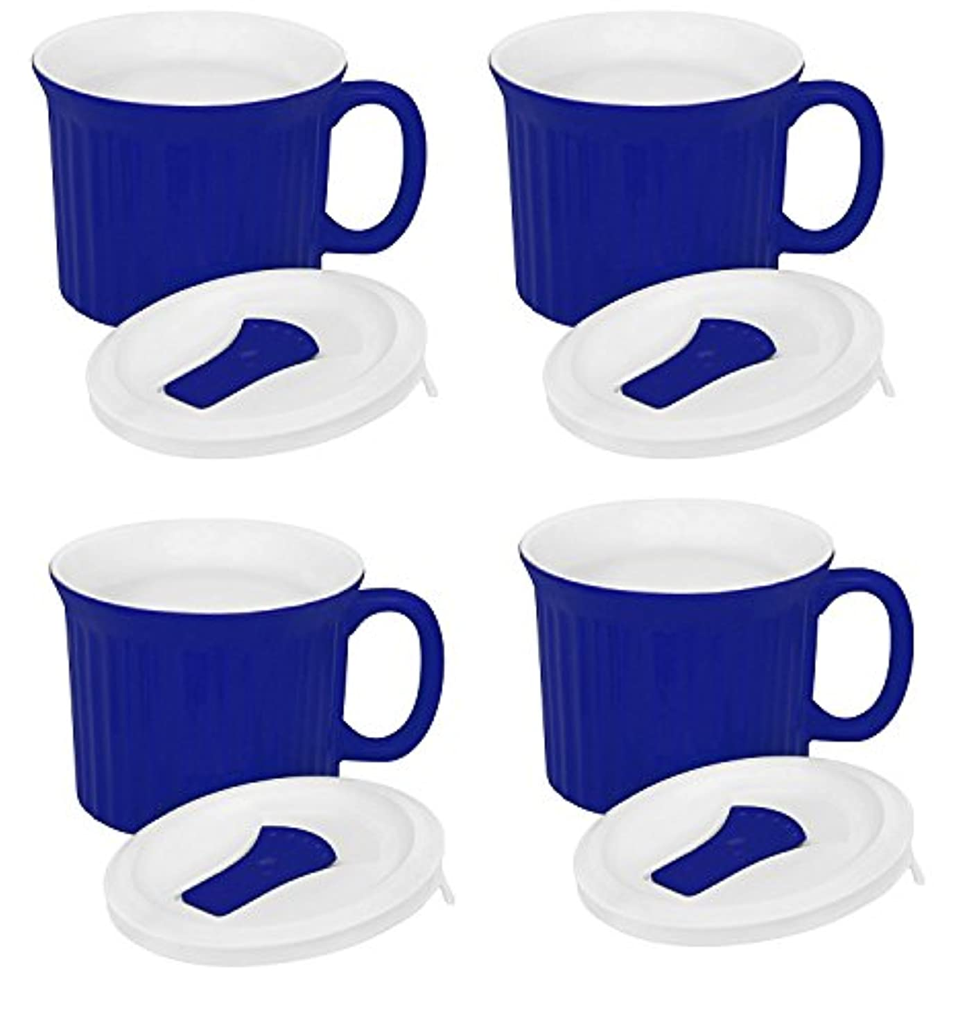 Corningware Pop-Ins 20-Ounce Mug with Blue Vented Plastic Cover, Blueberry (Pack of 4)