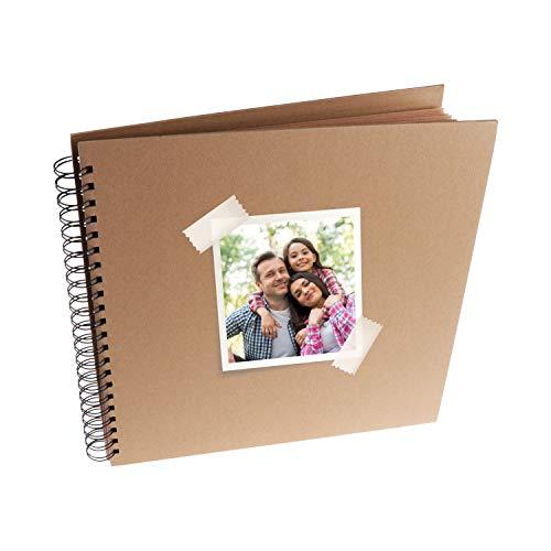 MP - Álbum Scrapbooking, Portada Gruesa, 20 Hojas Cuadradas, Color Kraft - 20x20 cm