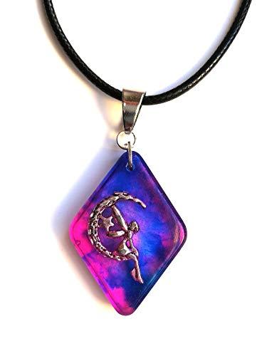 Collar de hadas con colgante de luna en resina hecha a mano colgante azul y rosa joyería de mujer idea de regalo unisex bisutería hecha a mano