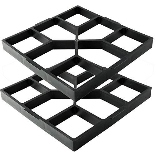 TC-Home 2pcs Driveway Paving Brick Patio Mold Concrete Slabs Path Garden Walk Maker (15.75'x 15.75') (StyleC-2pcs)