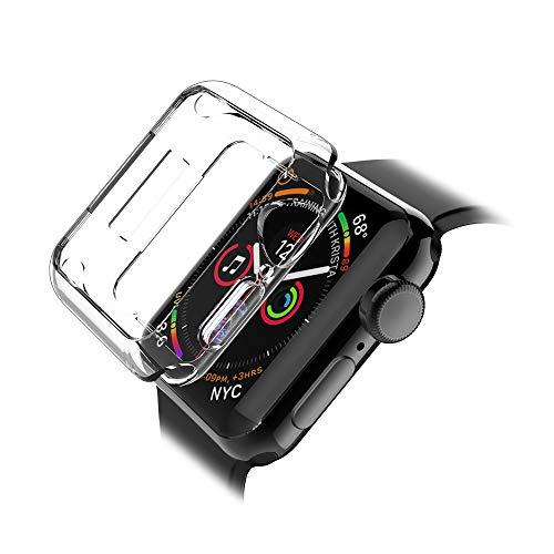 LK Cover Per Apple Watch 44mm Series 5 / Series 4 Custodia, Case in Morbido Silicone di Gel Antigraffio in TPU Ultra [Slim Thin] Protettiva - Trasparente