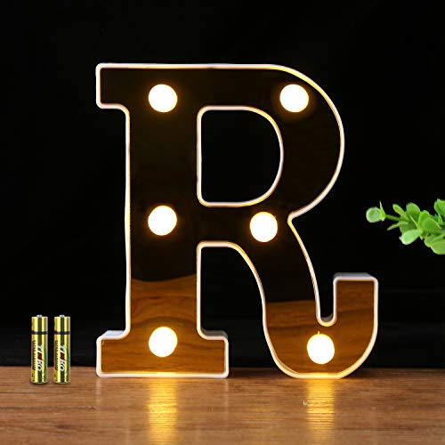 HONPHIER® Buchstaben Lichter Alphabet Lampe LED Brief Beleuchtung Goldene Buchstabe Licht Beleuchtete Buchstaben Nachtlichter Dekoration für Geburtstag Party Hochzeit Kinderzimmer -R