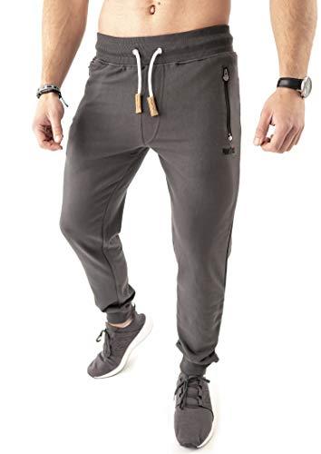 Mount Swiss Lange Freizeithose Herren Finn I Sweatpants mit Taschen I Laufhose mit Seitentasche + Gesäßtasche mit Reißverschluß Männer in Farbe anthrazit, Gr. L