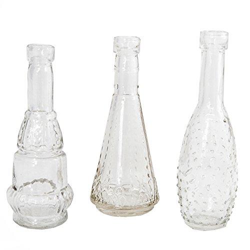 Annastore 12 x Deko Vasen Vintage Mini H 12 cm - Süße Minivasen ideal für 1-2 Blumen - – kleine Vasen für die Tischdeko – Glasfläschchen Minivase Glasvase Blumenvasen