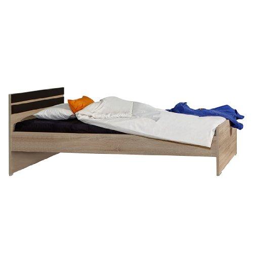 Wimex Bett/ Doppelbett Game, Liegefläche 140x200 cm, Eiche Sägegrau/ Absetzung Lavafarbig