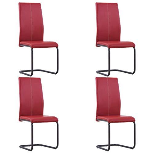vidaXL 4X Freischwinger Esszimmerstuhl Stuhl Schwingstuhl Stühle Polsterstuhl Küchenstuhl Essstuhl Hochlehner Esszimmerstühle Rot Kunstleder