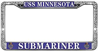paipaidiedie License Plate Frame Shiny Holder for US Cars,USS Minnesota Submariner License Plate Tag Frame,Zinc Metal Rhinestone Crystal Bling License Plate Chrome Frame