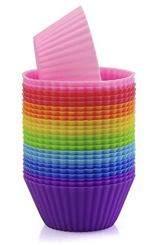 AVANA Wiederverwendbare Muffinformen aus hochwertigem Silikon Umweltschonend Cupcakeförmchen BPA-Frei Backformen Muffinförmchen 8 Farben, 24er-Set