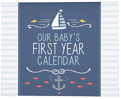 C.R. Gibson Blue Nautical ''Our Baby's First Year'' Baby Calendar for Newborn Boy Memory Book with Stickers, 11'' L x 18'' H