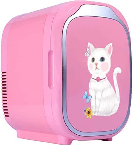 RENXR Mini Nevera Portátil Calentador Enfriador Eléctrico Coche Casa De Doble Uso Sistema Termoeléctrico del Refrigerador del Coche para Maquillaje Y Cuidado De La Piel, 6L,Rosado