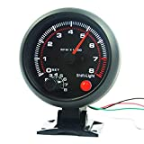 BAAQII 3,75'0-8000 RPM Contagiri per auto universale Strumento contagiri Strumento da corsa con luce LED nera
