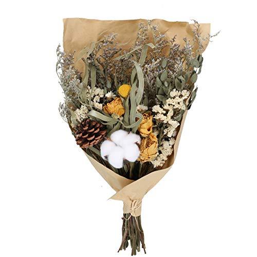 El tamaño del ramo de flores secas es de aproximadamente 43 cm * 25 cm. Hay alrededor de 6 tipos de plantas, incluidas rosas amarillas, piñas y algodón en el ramo. El estilo general es muy completo y cálido. Dado que las plantas son puramente natural...