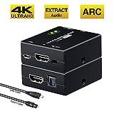 Tendak HDMI Audio Extractor Mit ARC, 4K HDMI zu HDMI + Toslink Audio Adapter Converter Splitter Unterstützung 4K@30Hz 3D für Soundbar Blu-ray PS3 PS4 DVD Player (Nicht unterstützt 4K HDR)