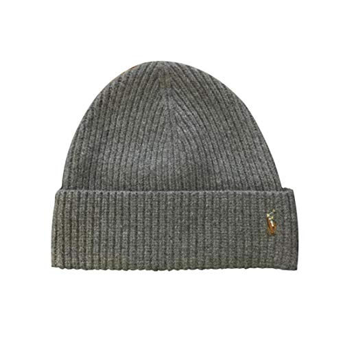 Polo Ralph Lauren Mens Pony Logo Skull Cap Beanie Hat (One Size, Fawn Grey)