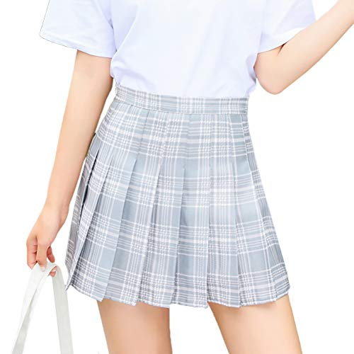 Leikance Hohe Taille Faltenrock, Mädchen Retro Tartan Röcke Plissee Plaid Mini Röcke Schulrock Tanzrock M hellgrau