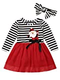 Baby Girls Christmas Outfit Striped Long Sleeve Santa Claus Dress Christmas Tutu Skirt Set with Headband 2PCS Kids Toddler Girl Fall Clothes (Stripe-Santa Claus Print, 2-3T)