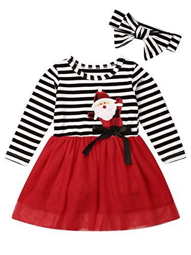 Baby Girls Christmas Outfit Striped Long Sleeve Santa Claus Dress Christmas Tutu Skirt Set with Headband 2PCS Kids Toddler Girl Fall Clothes (Stripe-Santa Claus Print, 1-2T)
