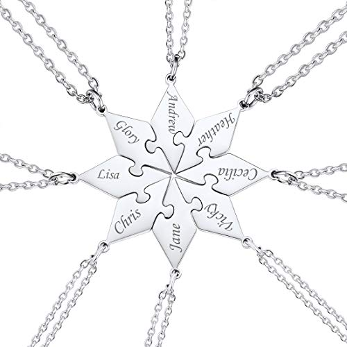 Customized BFF Necklace Set of 8 with Rolo Cable Chain Friendship/Family Jewelry Stainless Steel 18 Inch Personalized Engraving Name Puzzle Pieces Pendant for 8 Best Friend Siblings Family Member