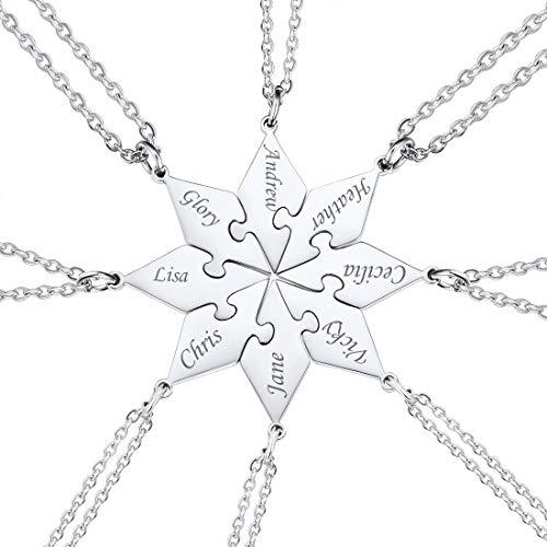 U7 BFF Joyería Personalizada de Mejores Amigos Collares Octágonos Dividido 8 Piezas con Cadena Delgada Rolo Acero Inoxidable 316L Puzzle Rompecabezas Colgantes