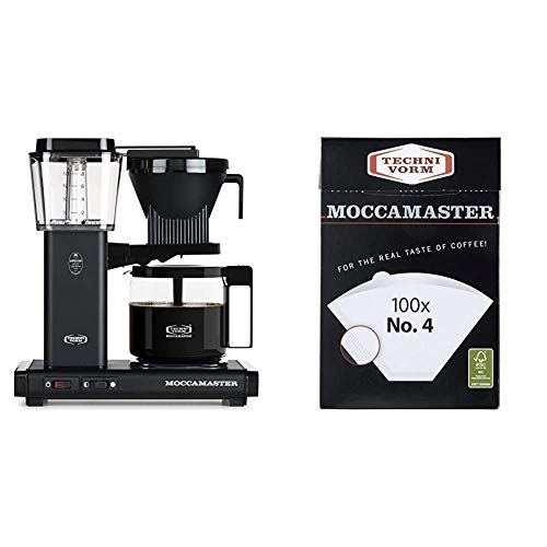 Technivorm Moccamaster 59656 KBG, 10-Cup Coffee Maker, 40 oz, Matte Black & #4 White Paper Filters, 100-count per box