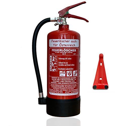 NEU 3 l Schaum Feuerlöscher Auto Fettbrand auch für Österreich DIN EN3 GS + Wandhalter + Manometer + Standfuß 13 A, 89 B, 40F = 4LE