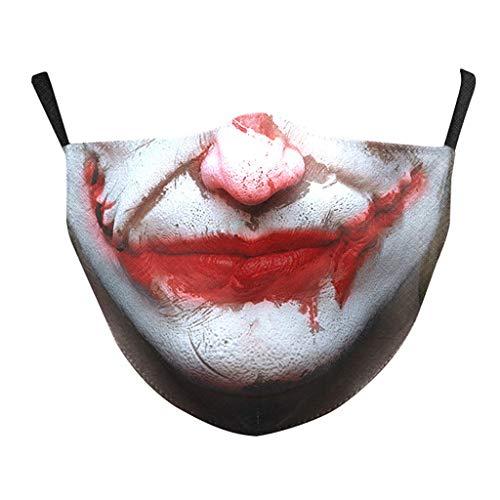 Mundschutz mit Motiv Halloween Joker Skull Totenkopf Blut Lippen Schnurrbart Horror 3D Lustig Mund und Nasenschutz Waschbar mit 2 Filters Damen Herren Moustache Multifunktionstuch Halstuch (TQ-331)