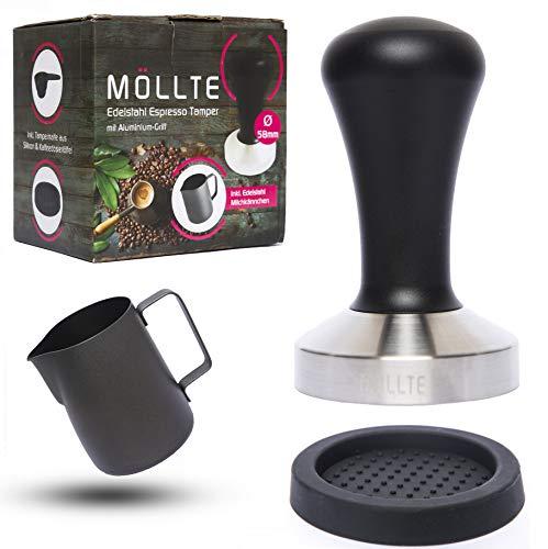 MÖLLTE Kaffee Tamper Set aus Edelstahl mit Aluminium-Griff - Espresso Tamper mit Milchkännchen, Silikonmatte und Dosierlöffel - Barista Stempel, Kaffeestampfer - Kaffeemehlpresser - (51mm)