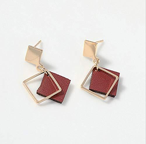 NOBRAND Pendientes Cuadrados Huecos geométricos Simples Vintage para Mujer Pendientes de Cuero Rojo Vino para joyería de Fiesta para Mujeres