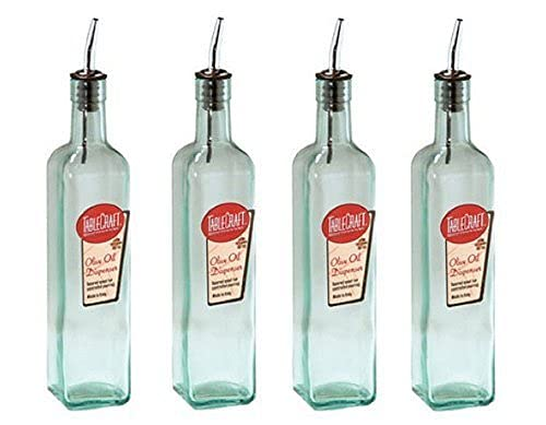 Tablecraft Olive Oil Dispenser Green Tinted Glass (Pack of 4) MADE in USA