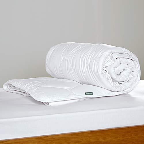 Natural, edredón de lana británico, con cubierta exterior de algodón de 200tc - Clásico – Caliente - Cama Matrimonial (W200cm x L200cm) – woolroom