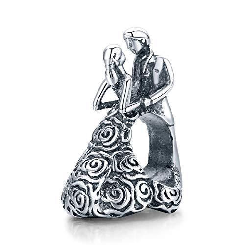 """Charm a forma di cuore con scritta in inglese """"A Happy Couple Love"""" in argento Sterling 925, adatto a braccialetti Pandora da donna e Argento, colore: Charm per marito e moglie., cod. Love charm"""