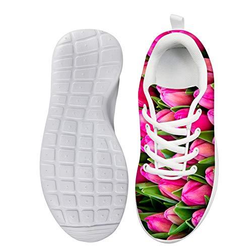 Lolyze Schön Kinder Sportschuhe Mädchen Sneaker Hallenschuhe Laufschuhe Outdoor Für Unisex-Kindern Rosafarbene Tulpen Tulpen EU 31