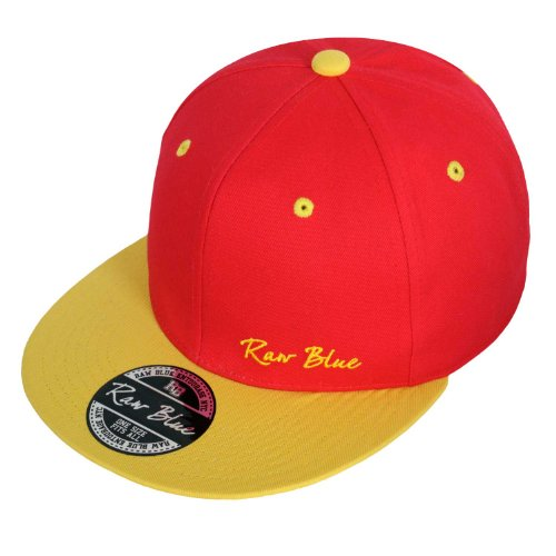 Raw Blue Basic Signature Snapback in Red / Yellow