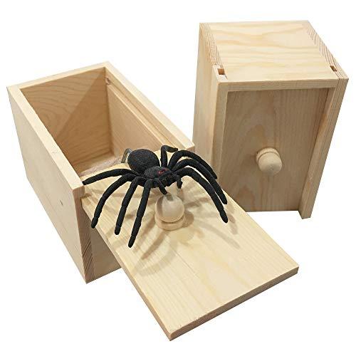 PARNIXS Rubber Spider Prank Box,Handcrafted Wooden Surprise Box Prank, Spider Money Surprise Box Fun Practical Surprise Joke Boxes