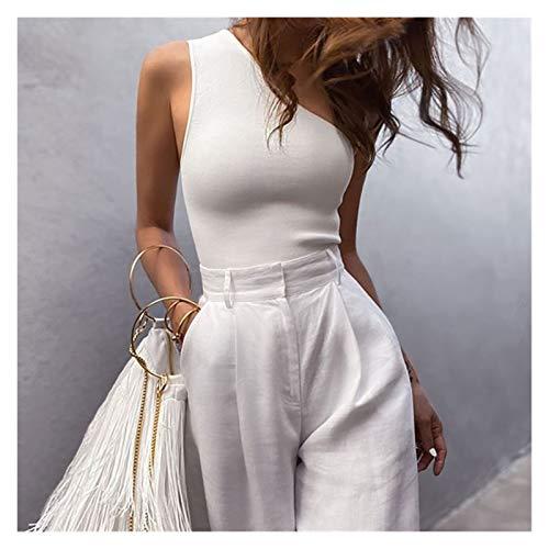 JINSUO Camiseta deportiva sexy para mujer, estilo casual, con un solo hombro, para verano, para fitness, elástico, color blanco, talla: L