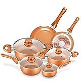 Cookware-Set Nonstick Pots and Pans-Set Copper Pan - KUTIME 10pcs Cookware Set Non-stick Frying Pan...